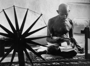 Gandhi with Charka