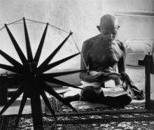 Gandhi with Charka